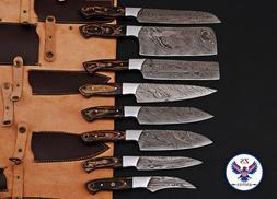 CUSTOM HANDMADE DAMASCUS STEEL CHEF KNIFE KITCHEN SET - ZS 4