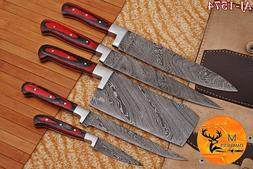 HAND FORGED DAMASCUS STEEL CHEF KITCHEN KNIFE SET WITH WOOD